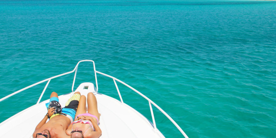 Relaxing at Pine Cay, Turks and Caicos aboard Due West, luxury yacht charter