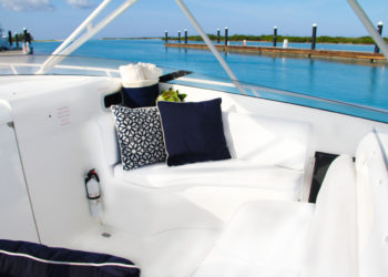 Comfortable bridge seating aboard bottom fishing and yacht charter boat, Due West