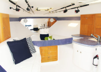 Spacious cabin and galley aboard Turks and Caicos bottom fishing and yacht charter vessel, Due West