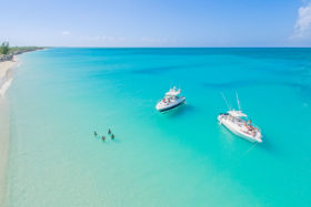 Aerial of Serenity and Due West, luxury charters and custom snorkelling, island hopping and beach cruises in Turks and Caicos.